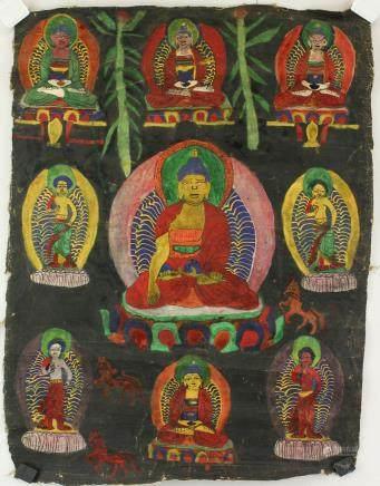 Tibetan Tangka Painting on Canvas