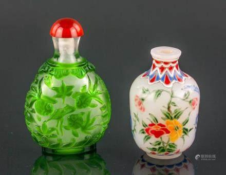 2 Pc Chinese Peking Glass Snuff Bottles