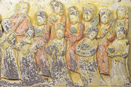Chinese Tang Dynasty Stone Carved Maids Mural