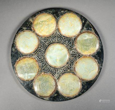 Archaistic Chinese Carved 8 Jade Bi Disc Inlaid