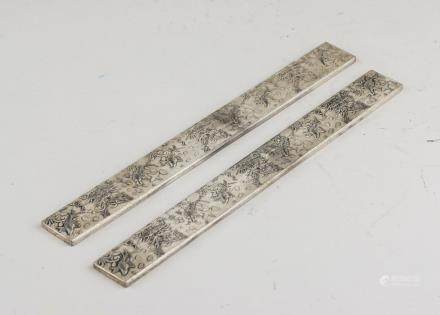 Pair of Chinese Silver Color Paper Weight Zuyin MK