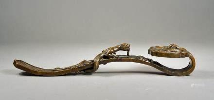 18th C. Chinese Bronze Ruyi Scepter Qianlong