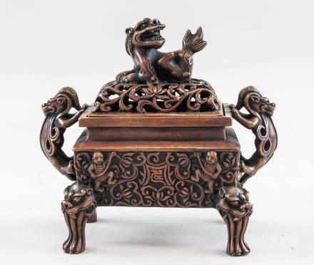 Chinese Bronze Dragon Censer Ming MK