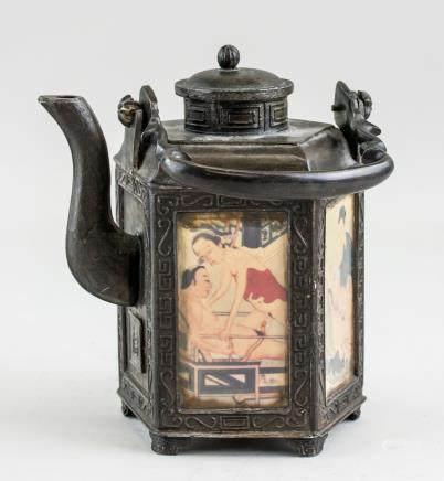 Chinese Bronze Erotic Scene Teapot with Chaoyi MK