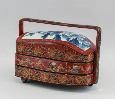Chinese Lacquer Wood Two-Layer Box with Lid