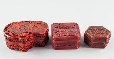 3 Assorted Chinese Red Lacquer Wood Boxes