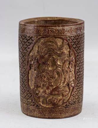Chinese Qing Dynasty Bamboo Phoenix Brush Pot