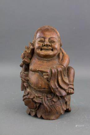 Chinese Old Bamboo Carved Immortal Statue