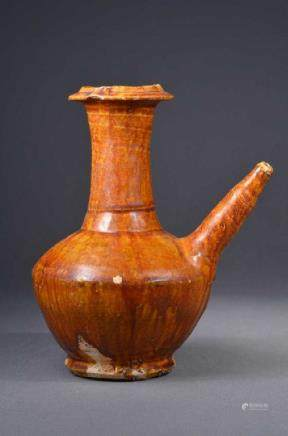 Chinese Qing Period Orange Glazed Water Pot