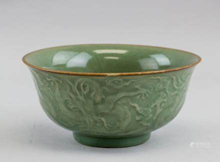 Chinese Ming Style Longquan Porcelain Dragon Bowl