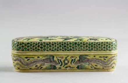 Rare Chinese Wucai Porcelain Brush Box & Cover
