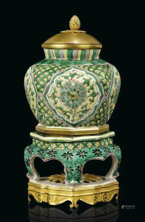 A LOUIS XV ORMOLU-MOUNTED CHINESE FAMILLE VERTE BALUSTER JAR-ON-STAND