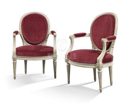A PAIR OF LOUIS XVI GREY-PAINTED FAUTEUILS