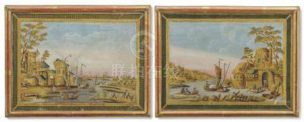 A PAIR OF LOUIS XVI ENGRAVED, GILT AND POLYCHROME-DECORATED SILVER FOIL LANDSCAPE VIEWS