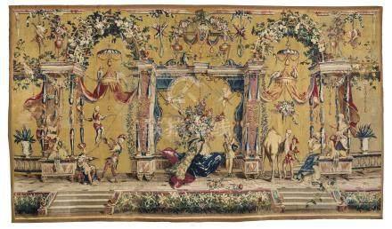 A LOUIS XIV BEAUVAIS GROTESQUE TAPESTRY