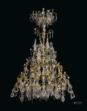A LARGE FRENCH ORMOLU, CUT-GLASS AND CRYSTAL FORTY-EIGHT LIGHT CHANDELIER