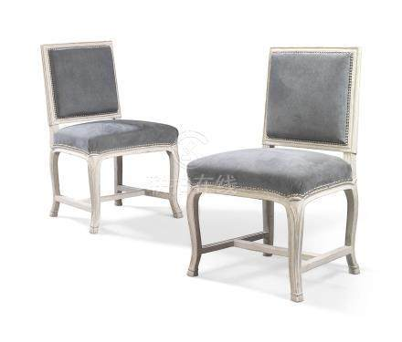 A PAIR OF LOUIS XVI GREY-PAINTED CHAISES