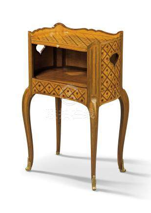 A LOUIS XV ORMOLU-MOUNTED SATINWOOD, MAPLE AND GREEN-STAINED FRUITWOOD MARQUETRY AND PARQUETRY OCCASIONAL TABLE