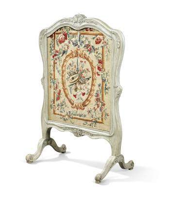 A LOUIS XV GREY-PAINTED FIRE SCREEN