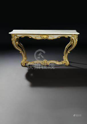 A LOUIS XV GREY-PAINTED AND PARCEL-GILT CONSOLE TABLE