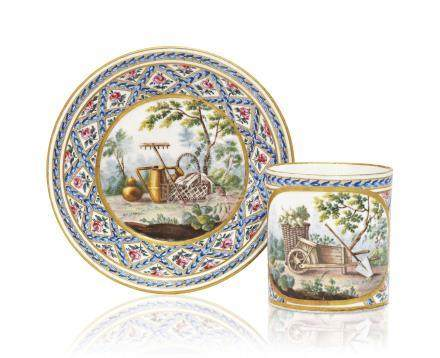 A SEVRES PORCELAIN CUP AND SAUCER (GOBELET LITRON)