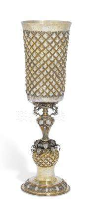 A GERMAN PARCEL-GILT SILVER CUP