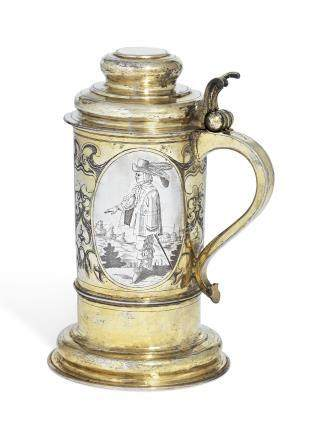 A GERMAN PARCEL-GILT SILVER FLAGON