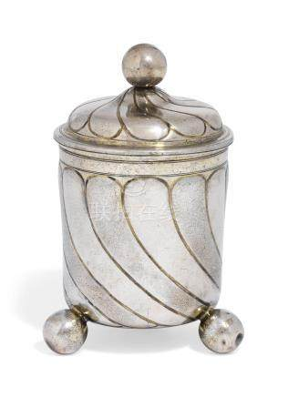 A GERMAN PARCEL-GILT SILVER BEAKER AND COVER