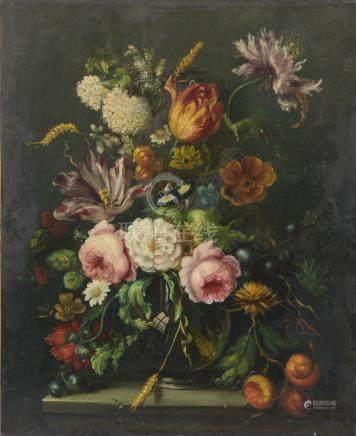 École du XXe siècle dans le goût du XVIIe hollandais.Bouquet de fleurs et d'épi