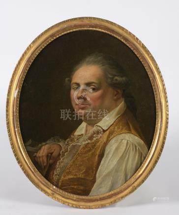 Ecole française vers 1770.Portrait d'homme au gilet brodé.Toile ovale.Haut. : 5