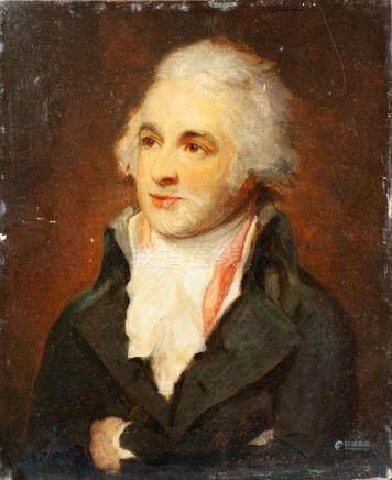 Attribué à Lemuel Francis ABBOTT (1760-1803) .Portrait d'homme.Toile contrecoll