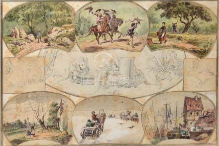 Jean-François MILLET (1814 - 1875).- Suite de six vignettes illustrant des scèn