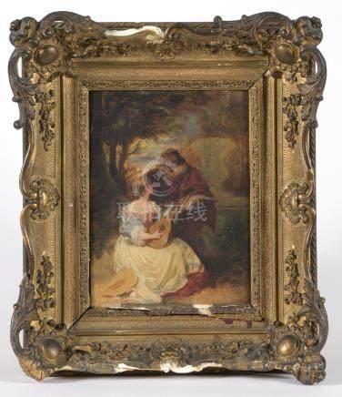 Émile-Charles WATTIER (1800-1868).La sérénade.Panneau, signé en bas à droite.Ha
