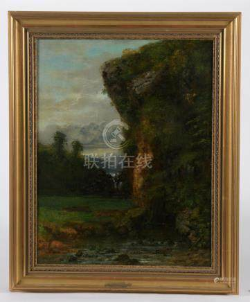 Atelier de Gustave COURBET (Cherubino PATA ou Jean-Jean CORNU).La cascade du Bi