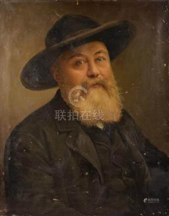 École du XIXe siècle.Portrait de vieil homme barbu au chapeau.Huile sur toile (