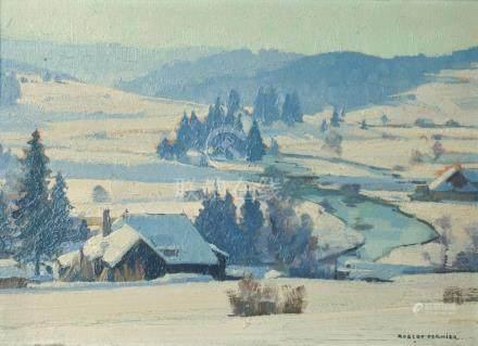 """Robert FERNIER (Pontarlier, 1895 - Goux-les-Usiers, 1977).""""Scierie au bord du D"""