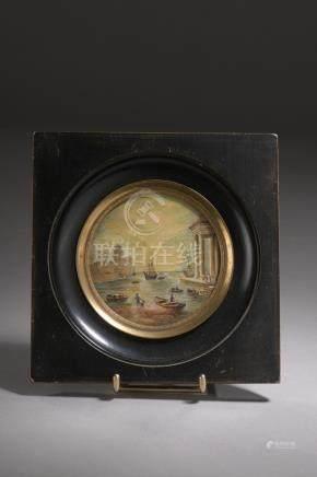 École  française du XIXe siècle.La toilette écourtée.Aquarelle sur papier dédic