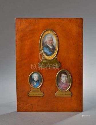 Ensemble de cinq miniatures à vues ovales présentées dans deux cadres : Le prem