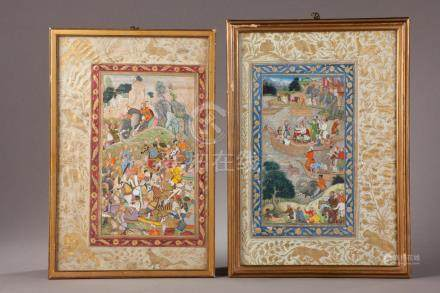 AKBAR A LA CHASSE SUR LA ROUTE DE LAHORE EN 1560.Peinture 74, attribuée à l'a