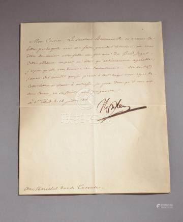 NAPOLÉON Ier (1769-1821). Lettre signée « Napoléon », Saint-Cloud 18 juillet 18