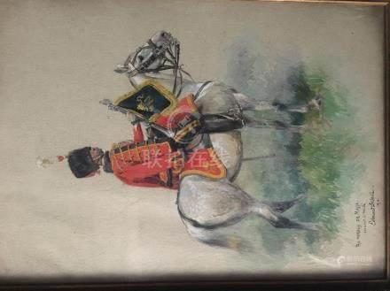 Edouard DETAILLE (Paris, 1848-1912).Portrait du marquis de Massa à cheval.Gouac