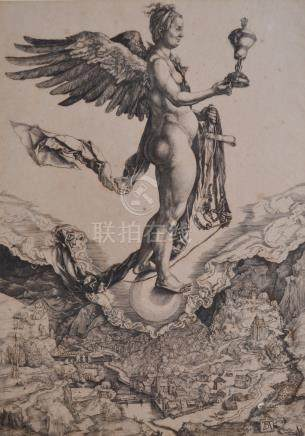 Albrecht DÜRER (1471-1528) - Charles Amand-Durand (1831-1904). Némesis. Héliogr