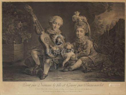 François Hubert DROUAIS (1727-1775) (d'après) Le fils. Gravure en noir par Beau