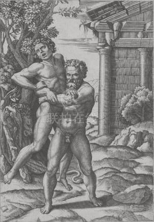 Marcantonio RAIMONDI (c.1480-1527/34) (d'après) Hercule et Antée. Gravure sur c