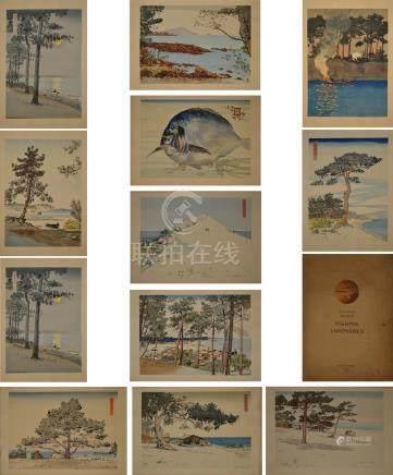 Jean-Paul ALAUX (1876-1955) Visions Japonaises. Douze estampes couleur sous che