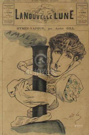 André GILL (1840-1885) Hymen vapeur, une de la nouvelle lune, Dimanche 16 avril