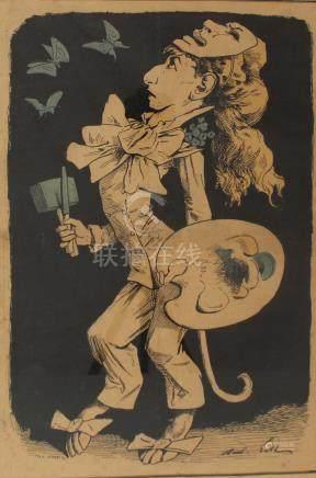 André GILL (1840-1885) Caricature d'une femme artiste. Lithographie. 49 x 39 cm