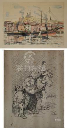 Joseph-Victor ROUX-CHAMPION (1871-1953) Le port de Marseille, Notre dame de la