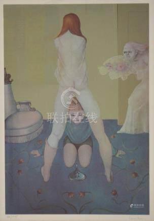 Leonor FINI (1907-1996) La leçon de puberté. Lithographie en couleurs signée et