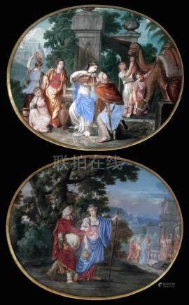 Jean JOUBERT (actif vers 1643-1707) Abraham et Sarah se rendant en Egypte, Rebe
